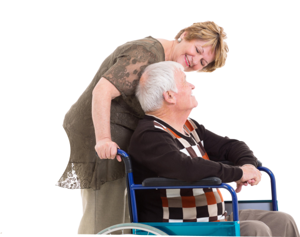 a caregiver and a senior female on a wheelchair