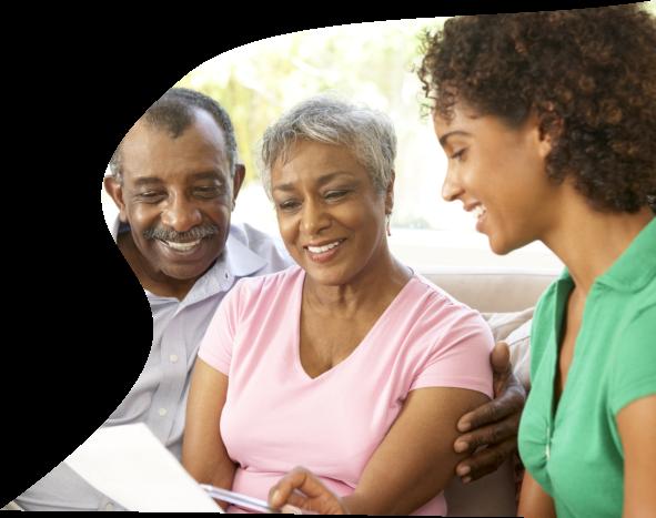 caregiver and a senior couple