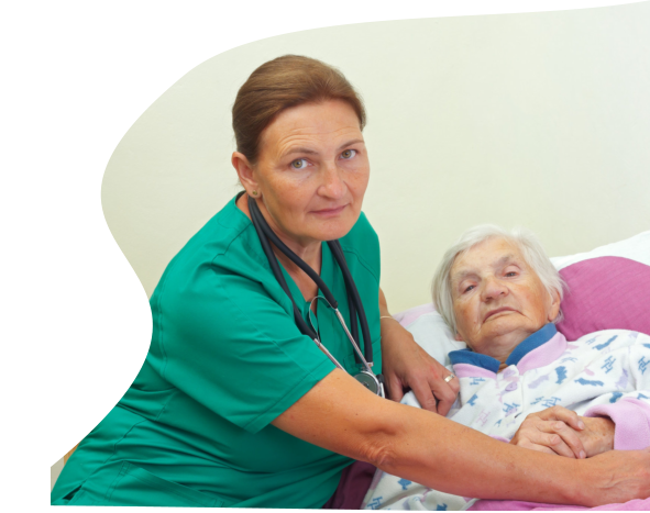 caregiver assisting a female senior