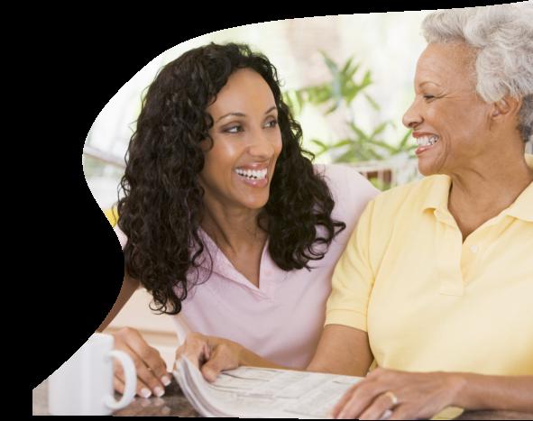 a caregiver and a senior female